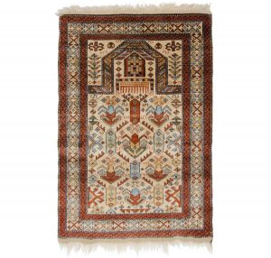3×4 Vintage Caucasian Oriental Ivory Hand-Knotted Rug