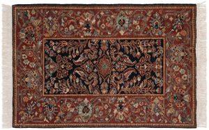 3×4 Hamadan Oriental Black Hand-Knotted Rug