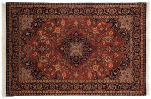 3×4 Kashan Oriental Red Hand-Knotted Rug