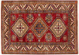 3×4 Kazak Oriental Red Hand-Knotted Rug