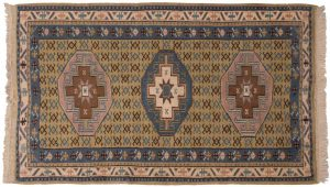 3×4 Vintage Kula Oriental Gold Hand-Knotted Rug