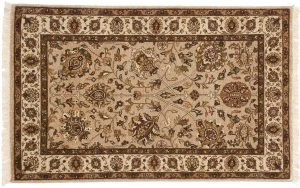 3×4 Mahal Oriental Beige Hand-Knotted Rug