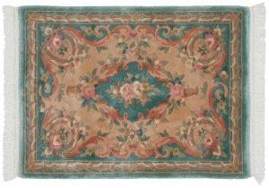 3×4 Semi-Antique Peking Oriental Green Hand-Knotted Rug