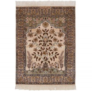 3×4 Vintage Persian Oriental Ivory Hand-Knotted Rug