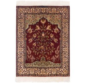 3×4 Vintage Persian Oriental Red Hand-Knotted Rug