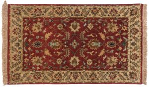 3×5 Floral Oriental Burgundy Hand-Knotted Rug