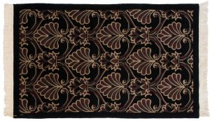 3×5 Arts & Crafts Oriental Black Hand-Knotted Rug