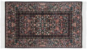 3×5 Aubusson Oriental Black Hand-Knotted Rug