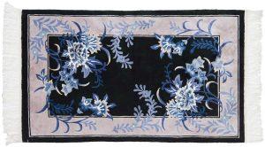 3×5 Vintage Aubusson Oriental Black Hand-Knotted Rug