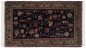 3×5 Heriz Oriental Black Hand-Knotted Rug