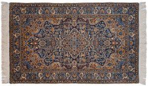 3×5 Vintage Kerman Oriental Blue Hand-Knotted Rug