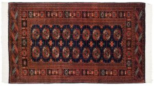 3×5 Vintage Bokhara Oriental Blue Hand-Knotted Rug