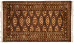 3×5 Vintage Bokhara Oriental Brown Hand-Knotted Rug