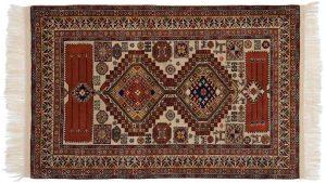 3×5 Vintage Caucasian Oriental Beige Hand-Knotted Rug