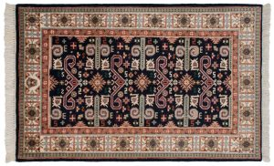 3×5 Vintage Caucasian Oriental Blue Hand-Knotted Rug