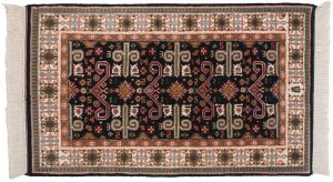 3×5 Caucasian Oriental Blue Hand-Knotted Rug
