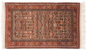 3×5 Vintage Caucasian Oriental Mauve Hand-Knotted Rug