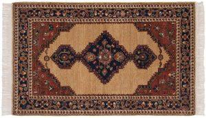 3×5 Hamadan Oriental Beige Hand-Knotted Rug