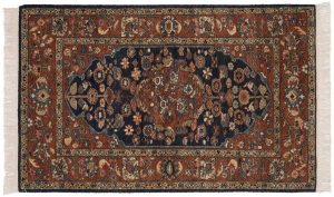 3×5 Hamadan Oriental Blue Hand-Knotted Rug