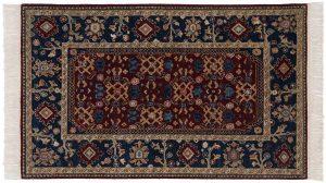 3×5 Hamadan Oriental Burgundy Hand-Knotted Rug
