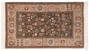 3×5 Hamadan Oriental Green Hand-Knotted Rug