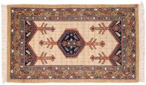 3×5 Hamadan Oriental Ivory Hand-Knotted Rug