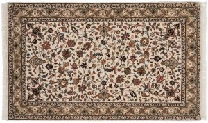 3×5 Isfahan Oriental Ivory Hand-Knotted Rug