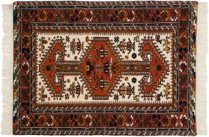 3×5 Vintage Caucasian Oriental Ivory Hand-Knotted Rug