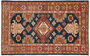 3×5 Kazak Oriental Blue Hand-Knotted Rug