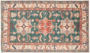 3×5 Kazak Oriental Green Hand-Knotted Rug