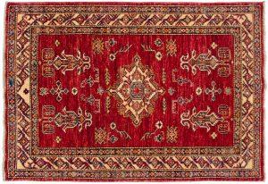 3×5 Kazak Oriental Red Hand-Knotted Rug