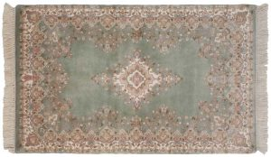 3×5 Kerman Oriental Green Hand-Knotted Rug