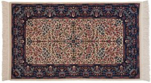 3×5 Kerman Oriental Ivory Hand-Knotted Rug