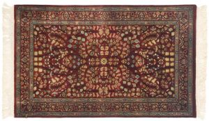 3×5 Kerman Oriental Red Hand-Knotted Rug