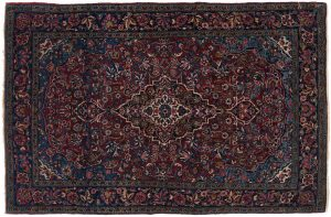 3×5 Meshed Oriental Burgundy Hand-Knotted Rug