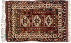 3×5 Caucasian Oriental Multi Color Hand-Knotted Rug