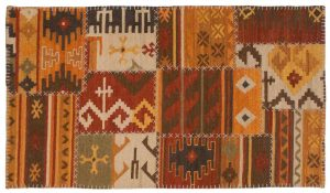 3×5 Patchwork Oriental Multi Color Hand-Knotted Rug