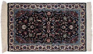 3×5 Kerman Oriental Black Hand-Knotted Rug