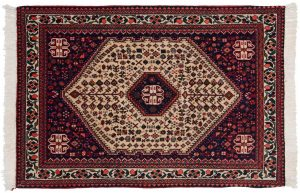 3×5 Persian Abadeh Oriental Beige Hand-Knotted Rug