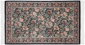 3×5 Floral Oriental Black Hand-Knotted Rug