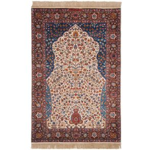 3×5 Vintage Persian Oriental Ivory Hand-Knotted Rug