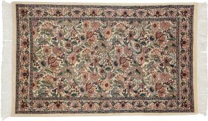 3×5 Floral Oriental Ivory Hand-Knotted Rug
