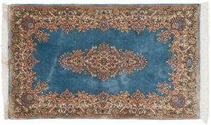 3×5 Persian Kerman Oriental Blue Hand-Knotted Rug