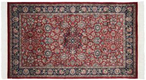 3×5 Vintage Persian Oriental Red Hand-Knotted Rug