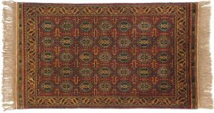 3×5 Caucasian Oriental Red Hand-Knotted Rug