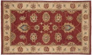3×5 Caicasian Oriental Red Hand-Knotted Rug