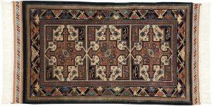 3×5 Vintage Saddlebag Oriental Ivory Hand-Knotted Rug
