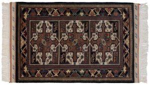 3×5 Vintage Saddlebag Oriental Black Hand-Knotted Rug