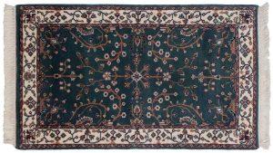 3×5 Vintage Sarouk Oriental Teal Hand-Knotted Rug