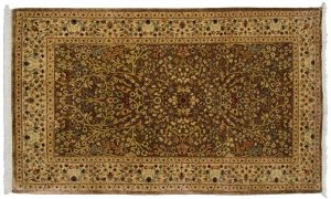 3×5 Tabriz Oriental Brown Hand-Knotted Rug